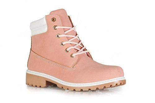 Oferta: 18.3€. Comprar Ofertas de Botas de senderismo de invierno para mujer, estilo informal, con cordones hasta el tobillo, color rosa, talla 36.5 barato. ¡Mira las ofertas!