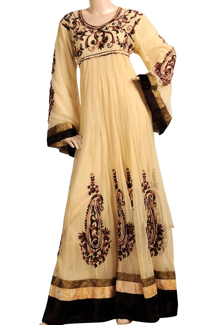 """aljalabiya.com: """"Beige Sunday"""" Tulle kaftan with embroidery and wool stiches (N-13782-4)  $204.00"""