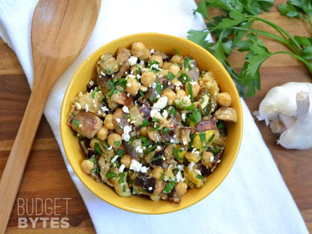 This flavorful and hearty salad combines rich roasted vegetables, buttery chickpeas, feta, and herbs for big flavor and belly filling power!