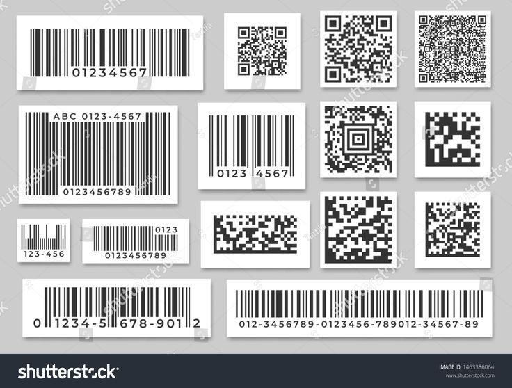 Barcode labels. Code stripes sticker, digital bar label