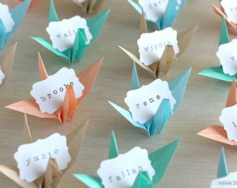 16 Origami Paper Crane Name Place Cards Favors Wedding Dinner Reception Engagement Party Tropical Paradise Beach Turquoise Blue Sand Peach