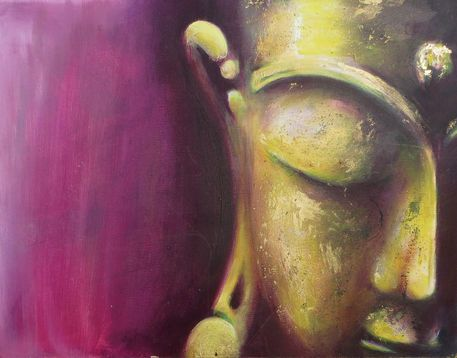 'Buddha Magenta-Gold' von Michael Ladenthin bei artflakes.com als Poster oder Kunstdruck $14.83