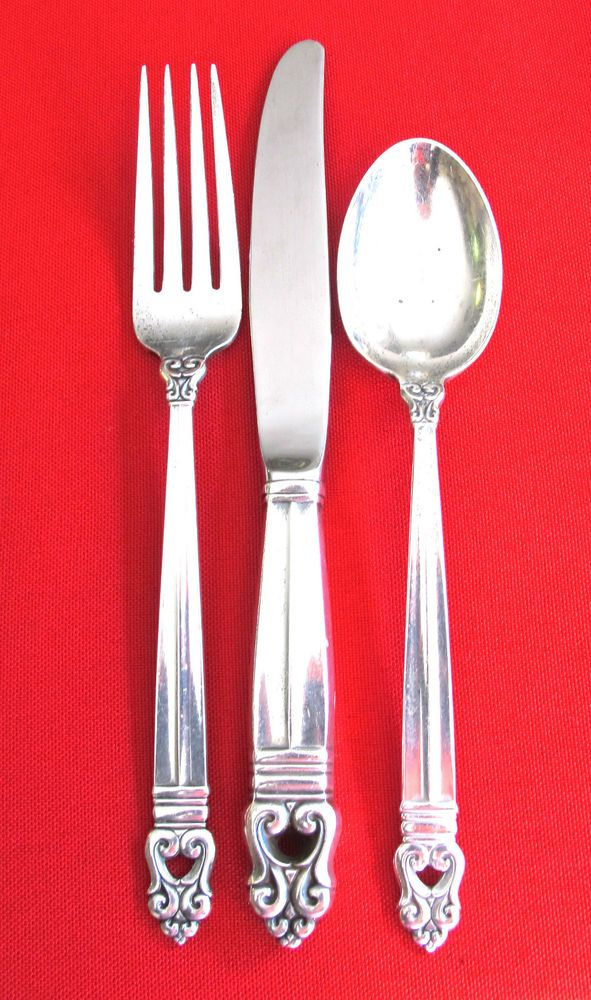 Italian Awesome Golden Silverplate Set of 3 Large Serving Pieces Fork 9.6 #1311 Spoon 9.6 and Cake Pie server 12 L
