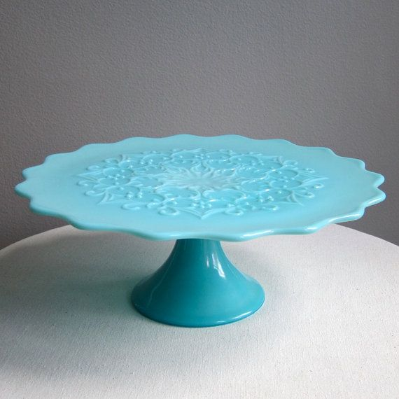 Turquoise Blue Milk Glass Pedestal Cake Stand -- Spanish Lace by Fenton Pastel Vintage Wedding 1950s & 393 best CAKE STANDS / PLATES images on Pinterest | Petit fours ...