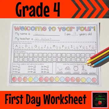 This worksheet is a great activity for the first day or first week of grade 4 or year 4 to give teachers a brief insight into their students abilities. Designed to be completed independently so that teachers can identify areas of need in a quick, easy and non-threatening first day assessment. Use this activity as a fun piece to take home or you can use it as a simple first week assessment. It covers letters, numbers, and basic operations. {fourth grade, elementary}
