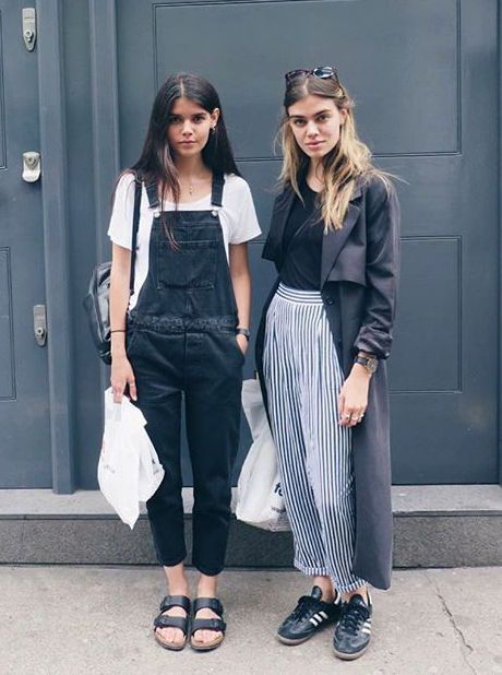 Overalls and stripes - perfect for transitional dressing | @andwhatelse