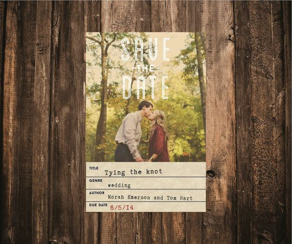 Library Card Photo Wedding Save the Date // 4x6 // DIY Printable // Modern Wedding, Library Wedding