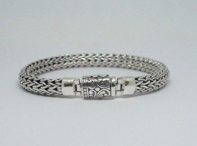 handmade mans silver bracelet, silver chain bracelet for man, bali silver bracelet for man, sterling silver bracelet for man, by mabe925, $160.00 USD