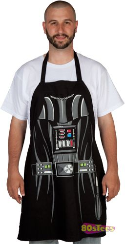 Star Wars Darth Vader Apron at 80stees.com. Protect your Sith uniform from grease splatter when BBQing Ewok and stir frying Gungan. Tons of Star Wars Shirts.