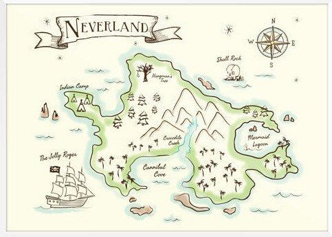 Neverland Map 16x20 DIGITAL DOWNLOAD by LittleArtistree on Etsy