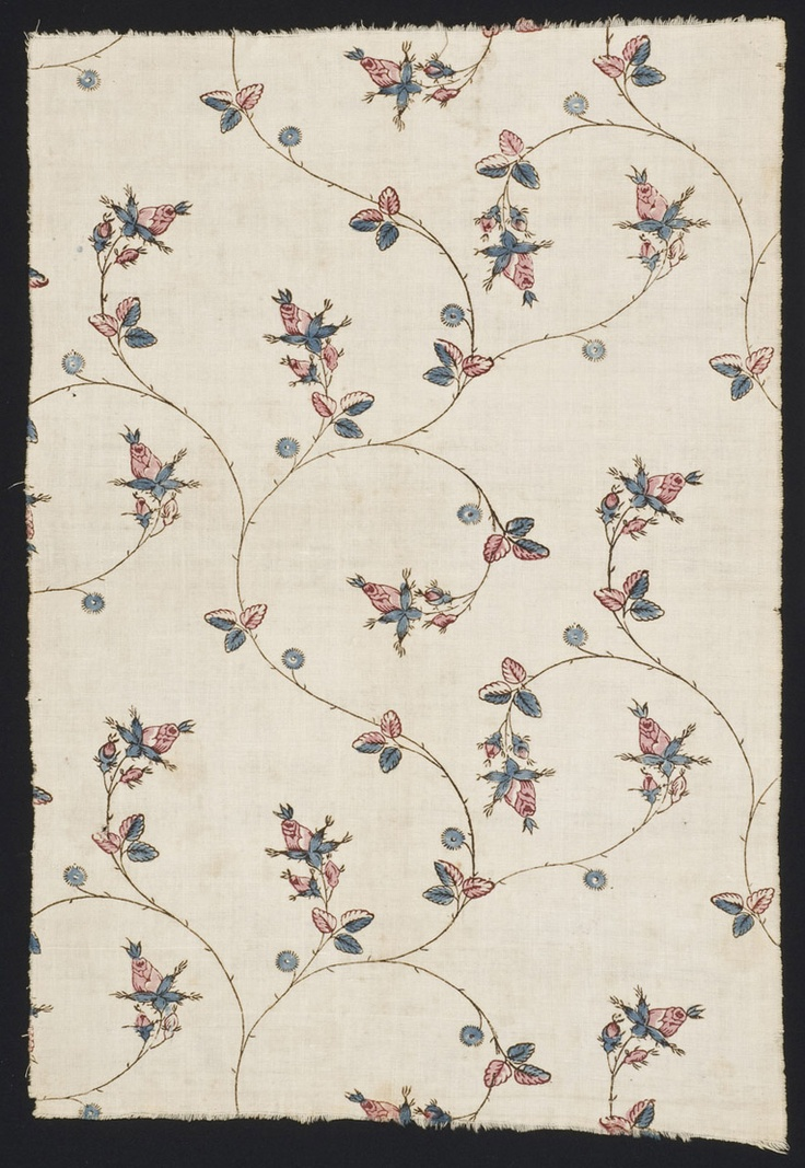 Textile, block printed cotton, 1775-1800, United States