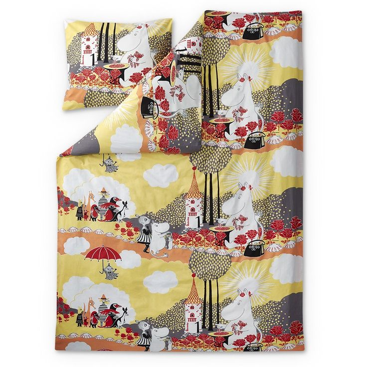 A new and beautiful yellow duvet cover set for adults by Finlayson. Pattern features Moominmamma and roses and will bring a smile to your face! Delightful details make this bed linen set a truly beautiful addition to your bedroom. High quality, 100 % cotton.Size: Duvet cover 150 x 210 cm