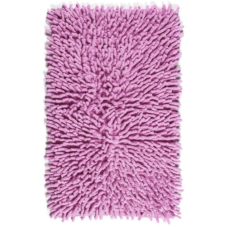 A plush pink rug makes a perfect addition to a kid-friendly bathroom. Our inspiration was this Kassatex Fine Linens Bambini Basics Bath Rug.