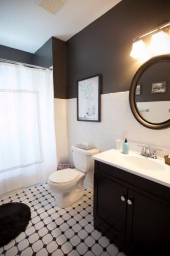 Any bathroom. floor tile, subway tile, contrasting color scheme