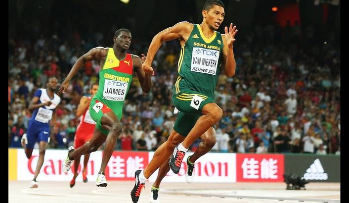 Photo: Wayde Van Niekerk of South Africa on his way winning the men's 400m final during the Beijing 2015 IAAF World Championships at the National Stadium, also known as Bird's Nest, in Beijing, China, 26 August 2015. EPA/WU HONG