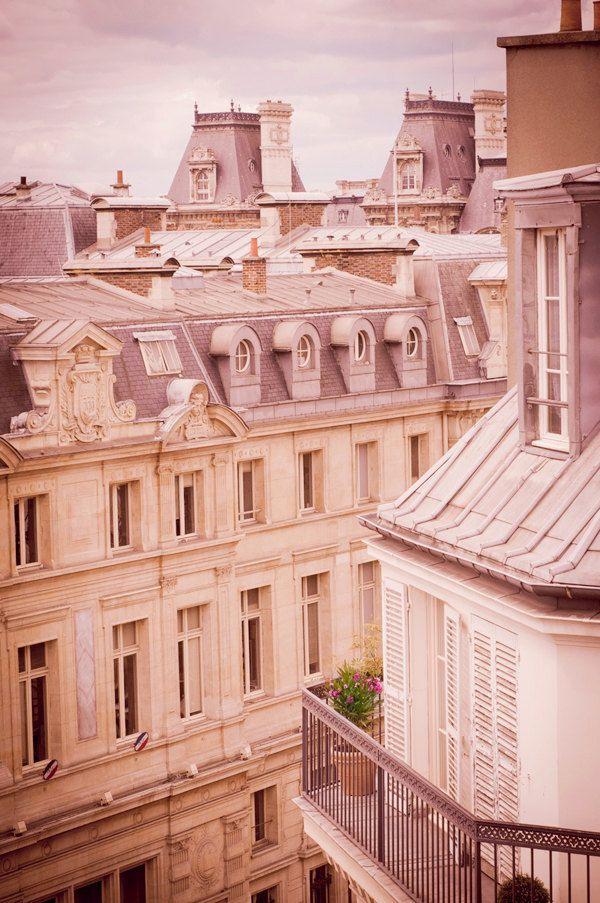 Paris Photography - Architectural Fine Art Travel Photo, Urban Wall Decor, Parisian Rooftops, Mauve Morning in Le Marais