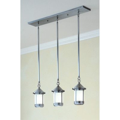 Arroyo Craftsman Berkeley 3-Light Kitchen Island Pendant Finish: Antique Brass, Shade Color: Frosted