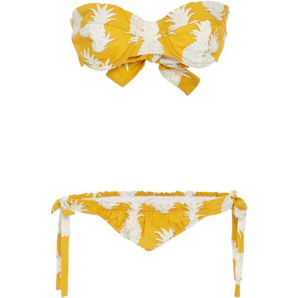 Osklen Pineapple Bikini Set ($145) ❤ liked on Polyvore featuring swimwear, bikinis, yellow, bikini bottom swimwear, underwire bikini, pineapple bikini bottoms, bikini tops and side tie bikini bottom