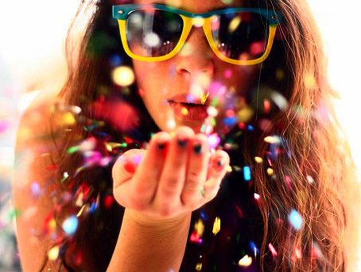 Use colored sprinkles and have person blow them. Take Photo. GREAT IDEA! <3 minus the hard clean up from glitter.