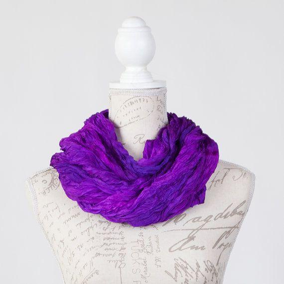 purple statement scarf / violet boho fashion scarf / bright