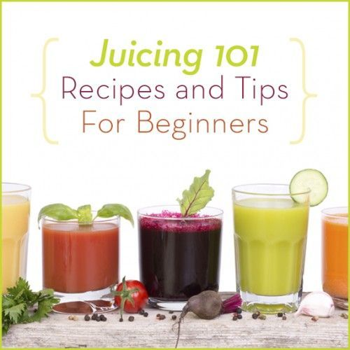 """Five healthy juices in glasses with fresh fruits with the words """"Juicing 101 Tips and Recipes For Beginners"""" above it."""