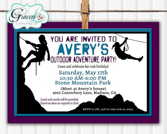 7 best Zoe Acrobranch party images – 12th Birthday Invitations