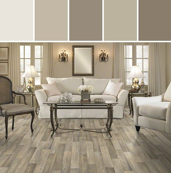 Elegant Mushroomy Neutrals: Resilient Carriage House Flooring Living Room Designed  By Shaw Floors Via Stylyze. I Love This Color Palette!