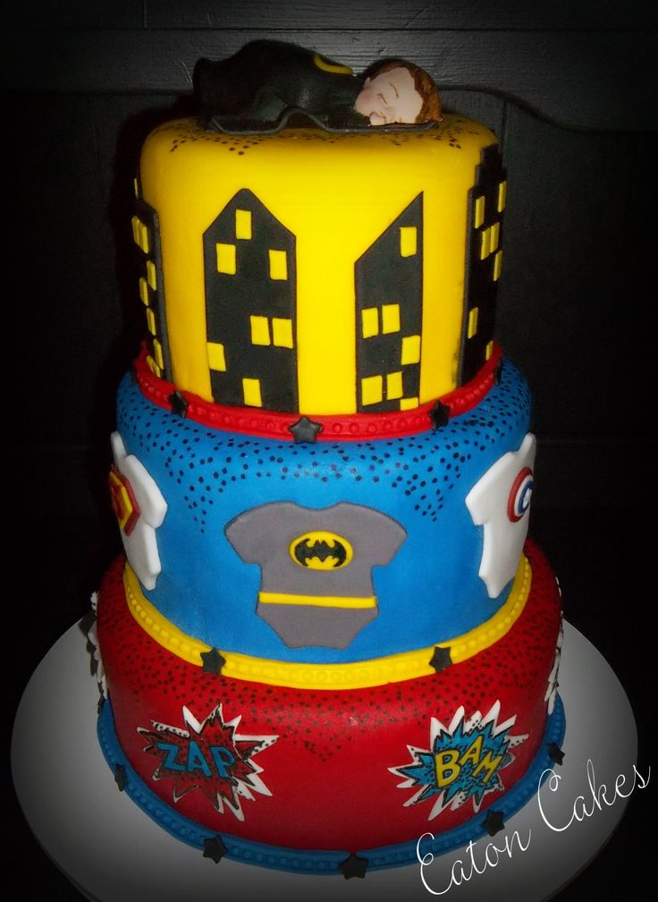 Wonderful Superhero Baby Shower Cake