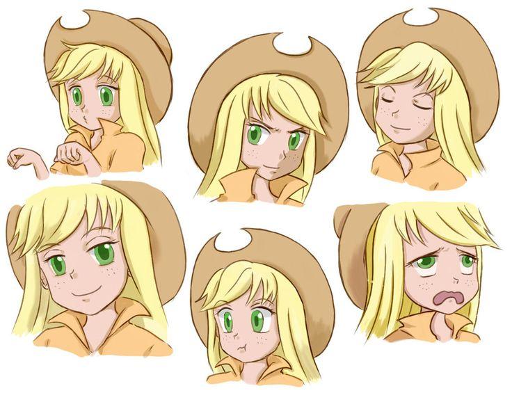 human mlp   MLP]Applejack-pony-human-Facial Expression by Pennygu on deviantART