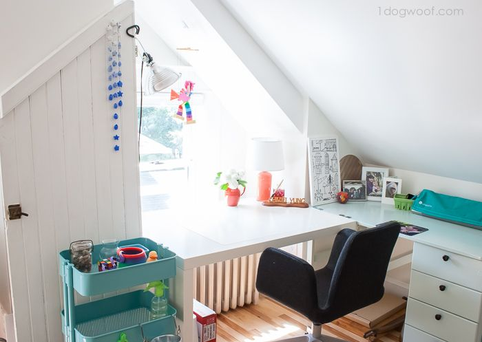 Inspiring and cheerful attic workspace!   www.1dogwoof.com
