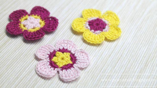 Блог Лилии Первушиной: [Вязание крючком] Аппликация. Вязаный цветочек.