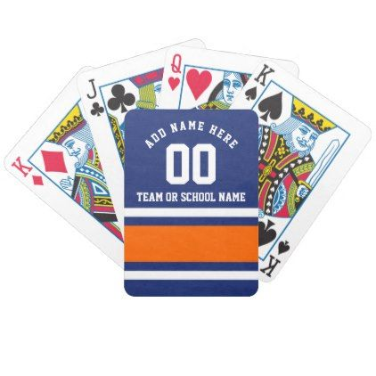 Sporty Blue|Orange Striped Personalized Bicycle Playing Cards - blue gifts style giftidea diy cyo