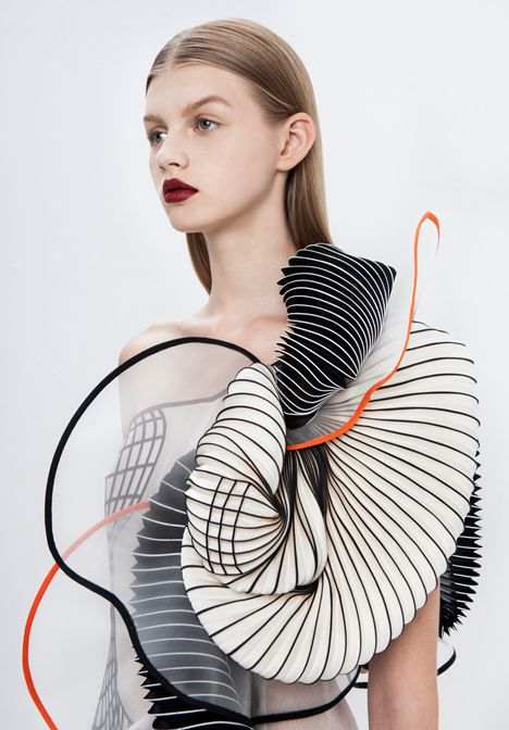 Israeli fashion designer Noa Raviv has integrated 3D-printed elements into ruffled garments influenced by distorted digital drawings.