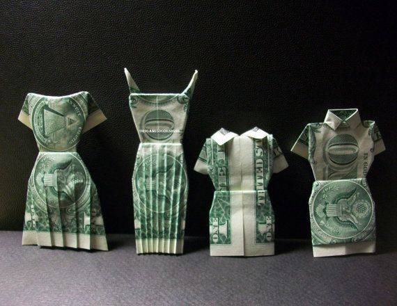 Cute! Want to try these! Money Origami Dresses