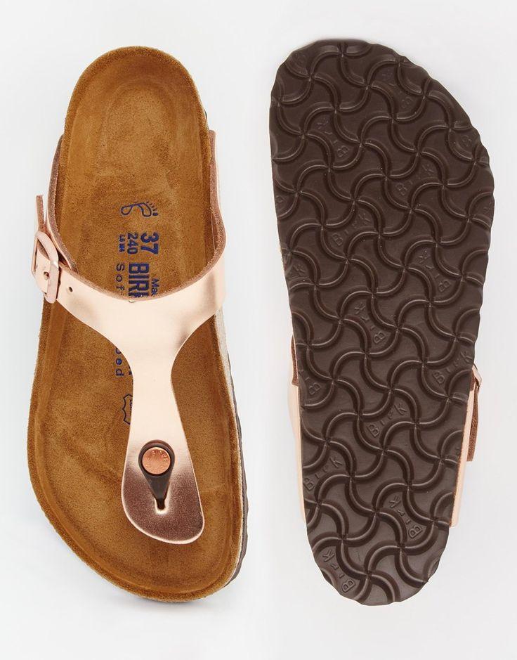 Image 3 of Birkenstock Gizeh Metallic Copper Slider Flat Sandals