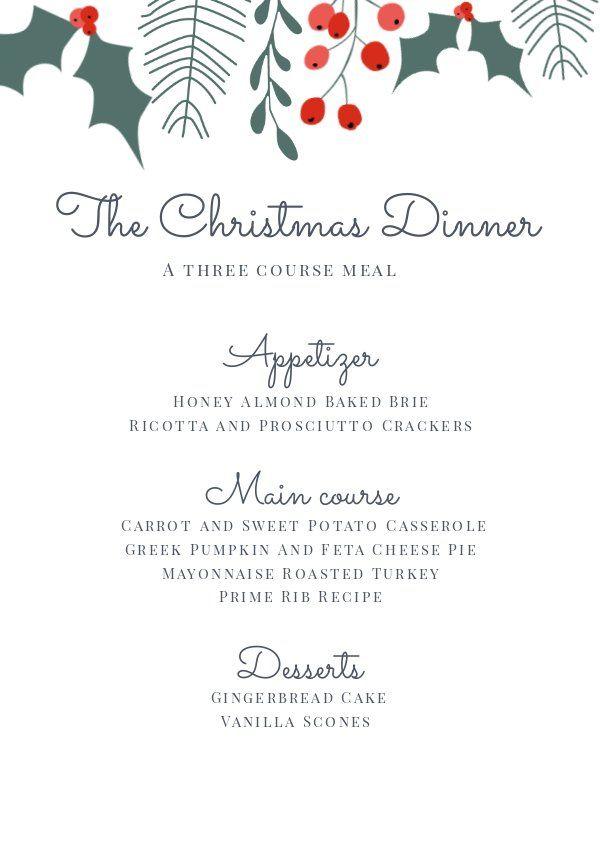 Christmas Dinner Menu Template Christmas Menu Design Christmas Dinner Menu Christmas Dinner