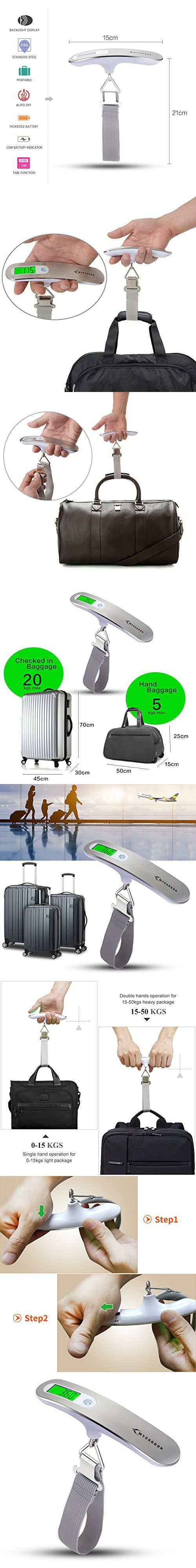 Luggage Scale MY CARBON Digital Scale and Hanging Scale 110 lb/ 50KG Digital Gram Scale Luggage Weight Scale with Backlit Portable Scale Digital for Travel Luggage Home Use and Christmas Gifts