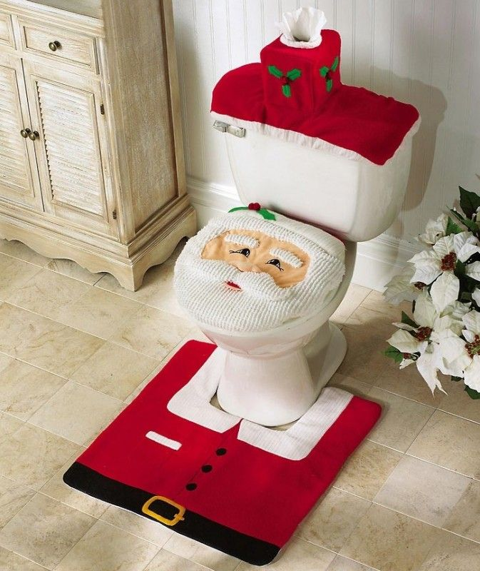 Adorable Four Piece Santa Toilet Seat Cover And Rug Set. Toilet Seat Cover  X Tank Cover X Colorful Contour Rug With Anti Slip Rubber Back X Tank Cover  Also ...