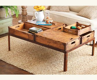 Could use soda crates to make this. I like the lids, I could hide whatever handcraft I was working on inside the table!