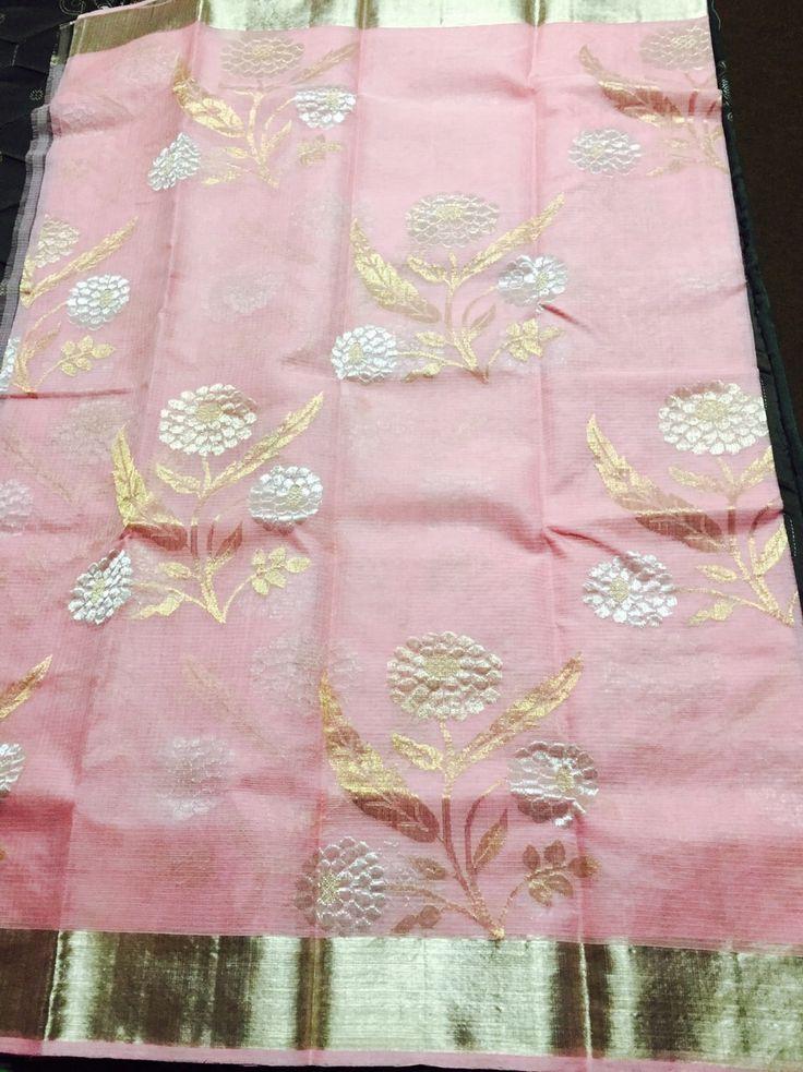 Baby pink pure sari kota