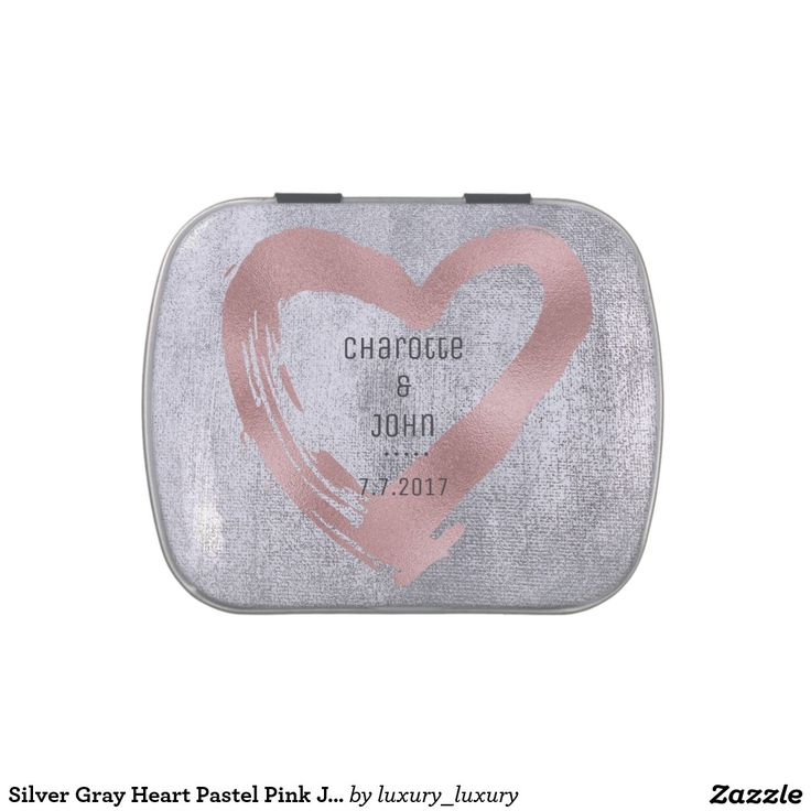Silver Gray Heart Pastel Pink Jelly Belly™ Candy Jelly Belly Tin