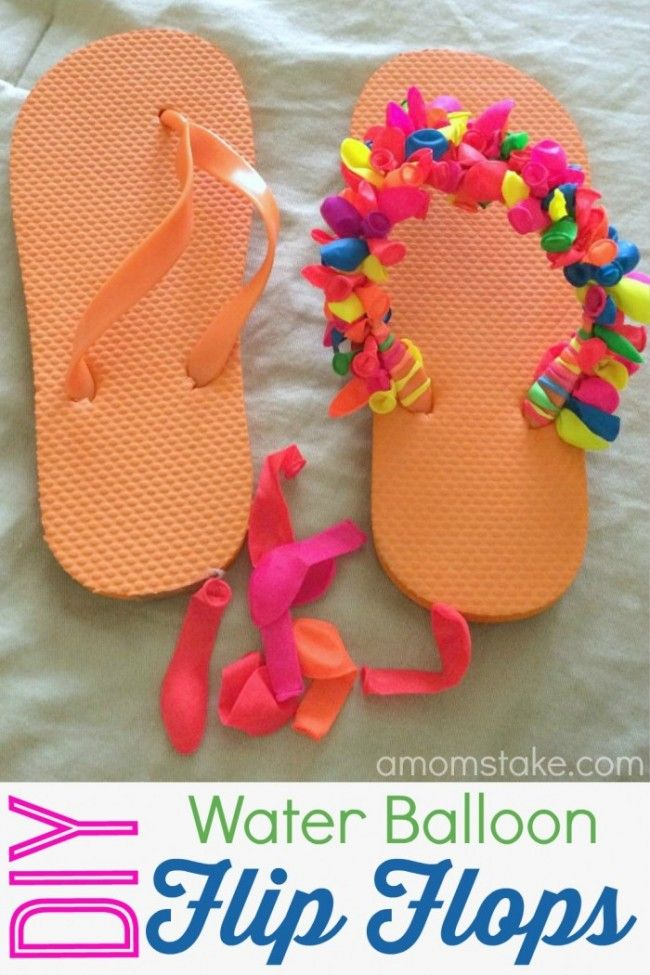 Diy water balloon flip flops balloon flip flops water for Fun things to do with water balloons