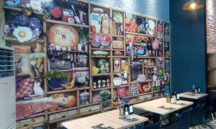 Kafe ve Restoran Dekorasyonu - Cafe 3 Boyutlu Duvar Kağıdı - Kafe İç Mimari Tasarım - duvargiydir.com 3d duvar kağıtları