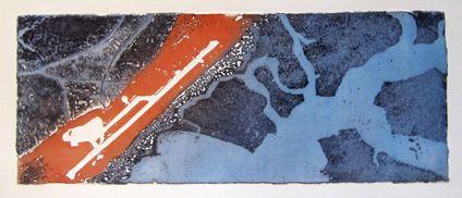 10X25 cm eau forte et aquatinte, 2 couleurs, 1 passage sous presse papier Velin BFK Rives 250g épreuve unique