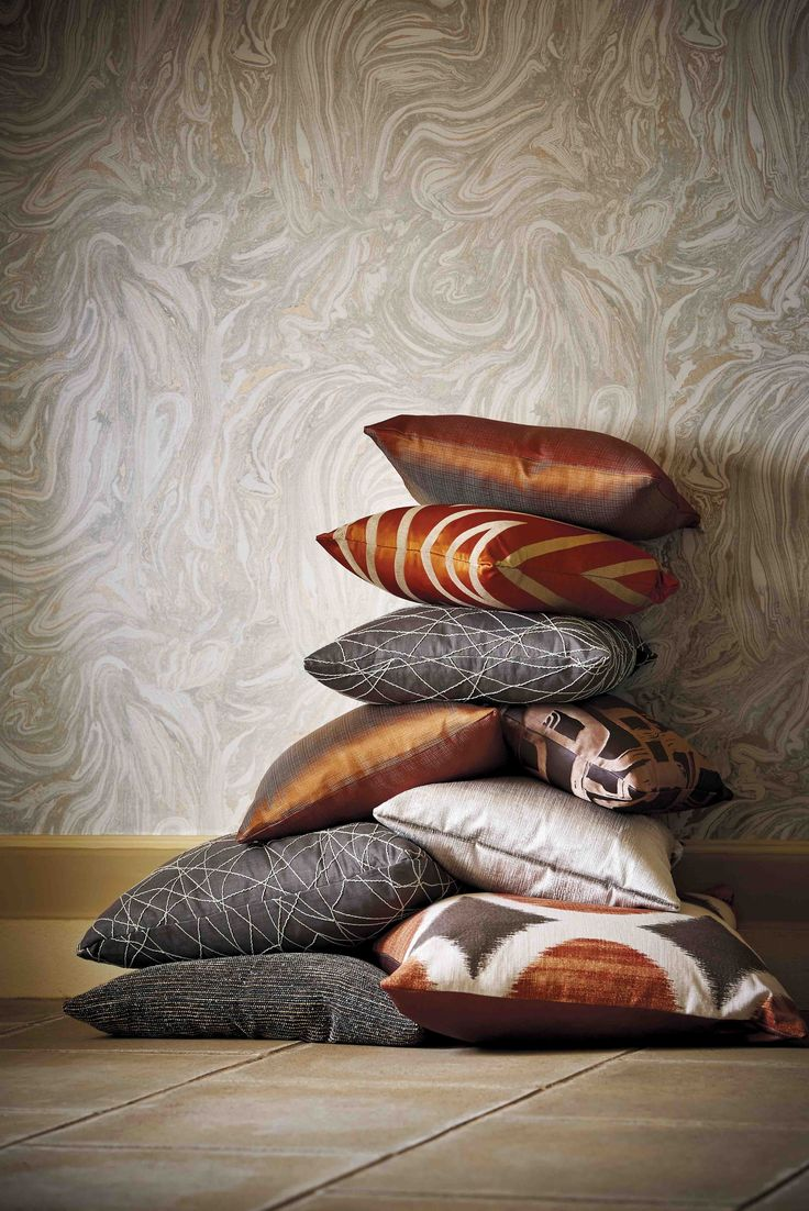 Rich copper fabrics from Harlequin's Momentum 5 & 6 collection