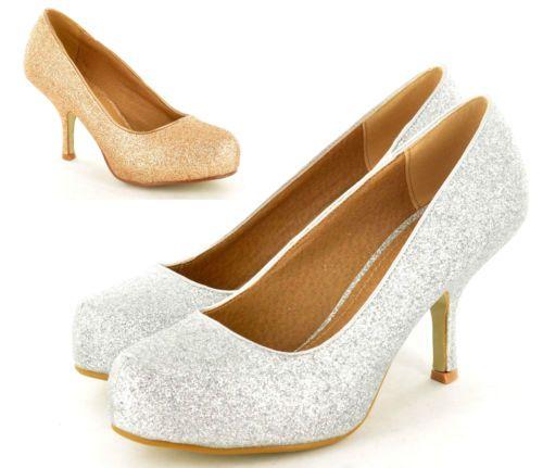1041161c3f64 Ladies Low Heel Glitter Concealed Platform Bridal Wedding Proms Party Shoes  3-8