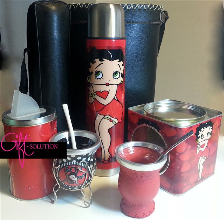 Set BETTY-BOOP Mate, yerbera, termo y lata para galletas.