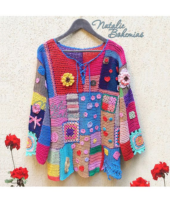 "Crochet Tunic Gypsy Boho Blouse Top Pullover Colorful Patchwork ""Gipsy Queen""…"
