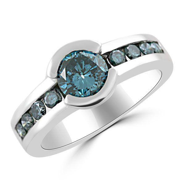 Angara Milgrain Enhanced Blue Diamond Framed Ring(5.5mm) G2wFG7gn