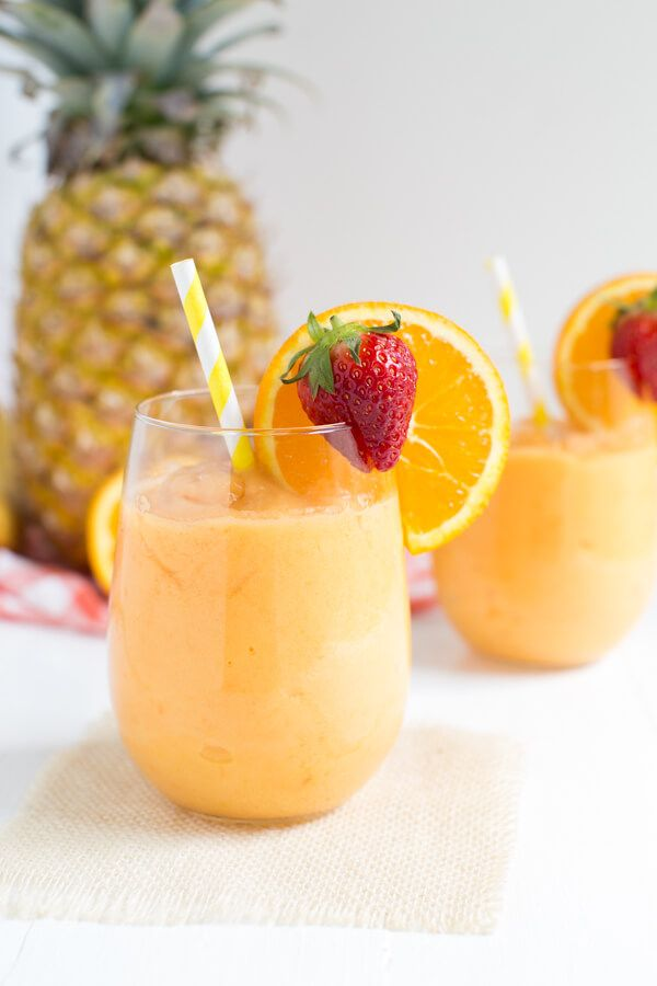 A fun and flavorful frozen cocktail is made from a few simple ingredients. Enjoy the taste of the tropics with a frozen Tropical Slushie! @easy